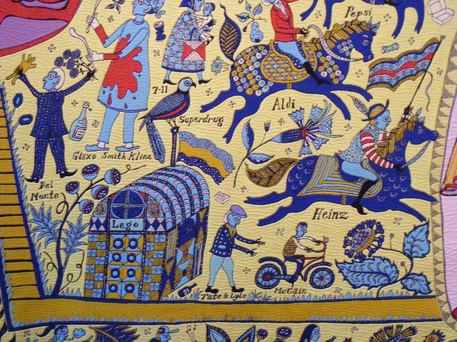 Grayson perry tapestry detail Walthamstow E by sludgegulper, via Flickr