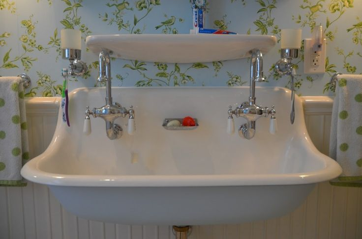 Bathroom. Various Models And Styles Are Very Beautiful Bathroom Sink. Amazing Vintage Bathroom Sink Model Featuring White Ceramic Trough Built In Classic Chrome Double Lever Handle Farmhouse Style Vintage Bathroom Sink Model. Bathroom Sink Models