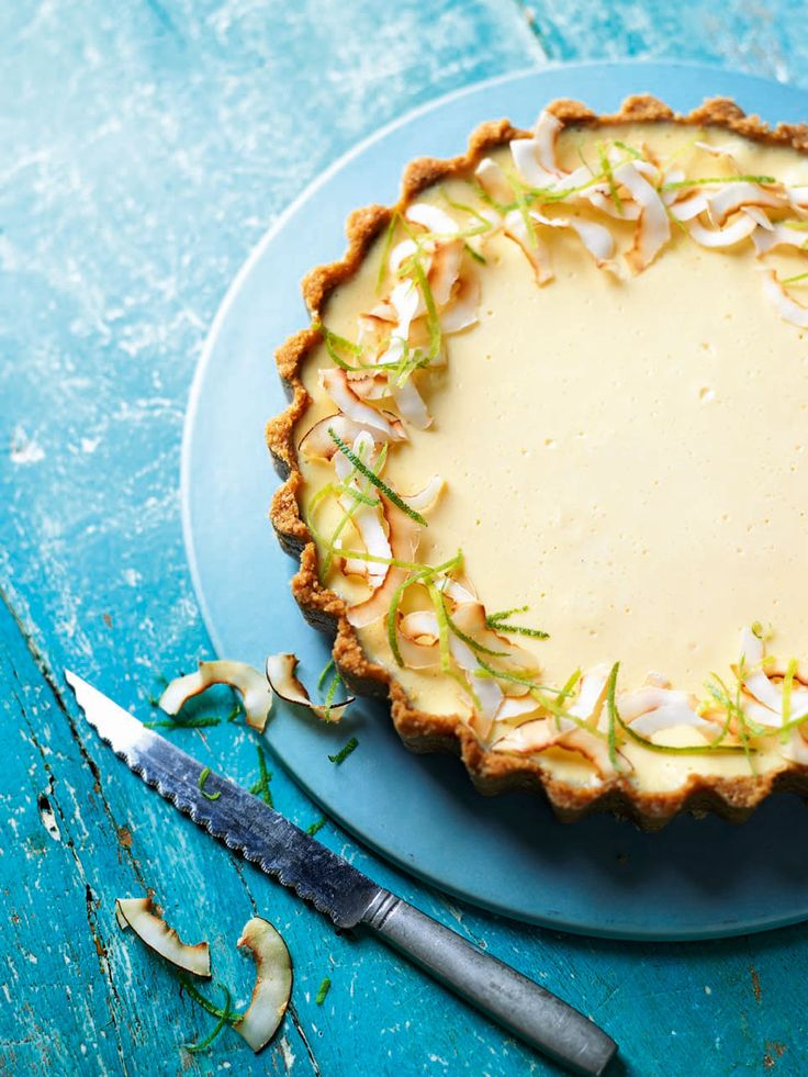 Experience a totally tropical taste with this lime and coconut tart – complete with toasted coconut. This recipe is simple to make but the flavours will certainly impress your dinner party guests.