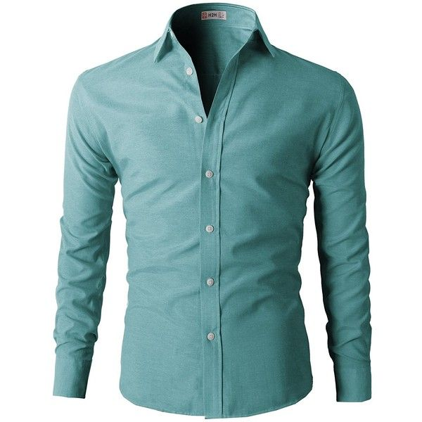 H2H Mens Oxford Cotton Slim Fit Dress Button-down Shirts Long Sleeve... ($25) ❤ liked on Polyvore featuring men's fashion, men's clothing, men's shirts, men's dress shirts, mens slim fit button down shirts, mens long sleeve dress shirts, mens mint green shirt, mens longsleeve shirts and mens mint green dress shirt