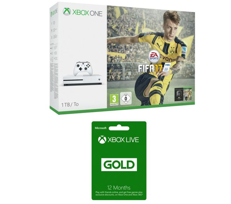 MICROSOFT  Xbox One S with FIFA 17 & Xbox Live Gold 12 Month Subscription Bundle, Gold Price: £ 324.99 Start gaming online with the Microsoft Xbox One S with FIFA 17 & Xbox Live Gold 12 Month Subscription Bundle . _____________________________________________________________  Microsoft Xbox One S with FIFA 17 The Xbox One S is an enhanced Xbox console 40% smaller and with High Dynamic Range...