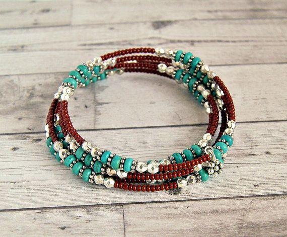 rustic turquoise memory wire wrap bracelet by pixiestrinkets
