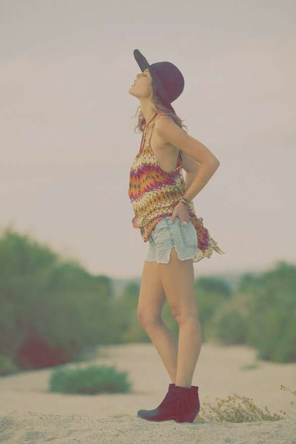 casual 70'sSummer Day, Bohemian Looks, Summer Style, Lf Stores, Hippie Boho, Jeans Shorts, Style Summer, Floppy Hats, Bohemian Style