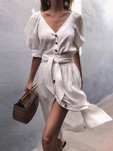 Knee-Length V-Neck Half Sleeve Standard-Waist Casual Dress