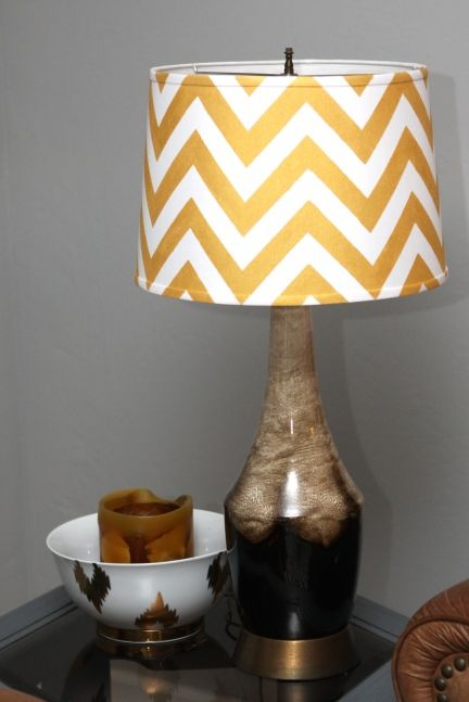 D.I.Y Chevron Shade - This is a tutorial on painting your shade, but we suggest using fabric...less messy and fewer mistakes! ---LOVE THE BASE!