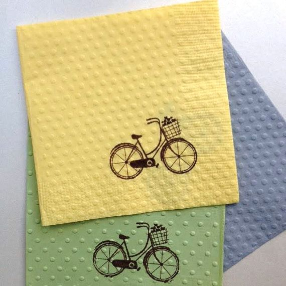 Cocktail Napkins - Bicycle Napkins - Bicycle Party - Birthday - Bicycle Theme - Wedding Napkin - Paper Napkins - Bridal Shower - Baby Shower  Adorable bicycle napkins can be used for many gatherings and are a charming, unique way of celebrating the fun occasions in life! A bridal shower, wedding, birthday or tucked into your lunch bag, as a hostess or thank you gift. The options are endless! Each napkin is individually hand stamped with a bicycle with a basket filled with hearts and embossed…