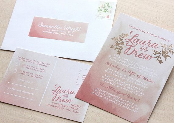 Blush Wedding Stationery Suite - Dusty Pink Watercolor Laser Cut Invitation, White Envelope, Reply Post Card and Place Card on Etsy, $18.99