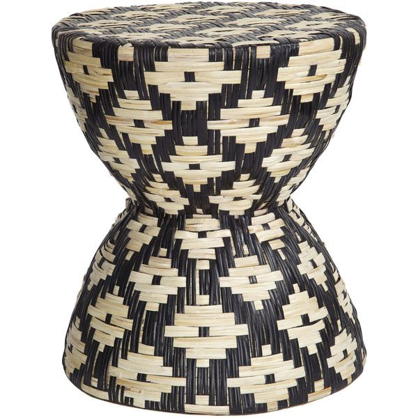 PALECEK Chevron Rattan Hand Woven Stool/Table ($450) ❤ liked on Polyvore featuring home, furniture, tables, accent tables, ship furniture, zig zag table, rattan accent table, rattan end table and chevron table