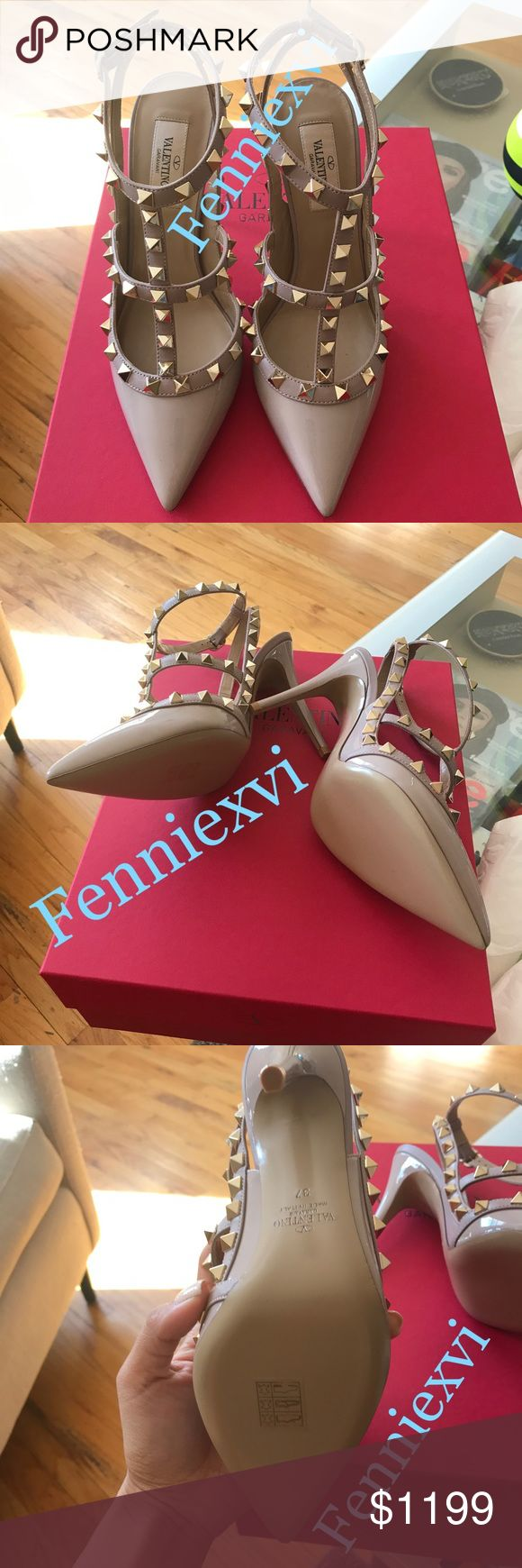 Valentino Rockstud Pumps Nude Patent Size 7 100% authentic, brand new! Highly sought after classic color, sold out! Comes with original box and dustbag. NO TRADES! vixfennie@gmail for offers, questions and pictures. Look at my previous sales and comments from buyers. NO SCAMMERS🙅 Valentino Shoes Heels