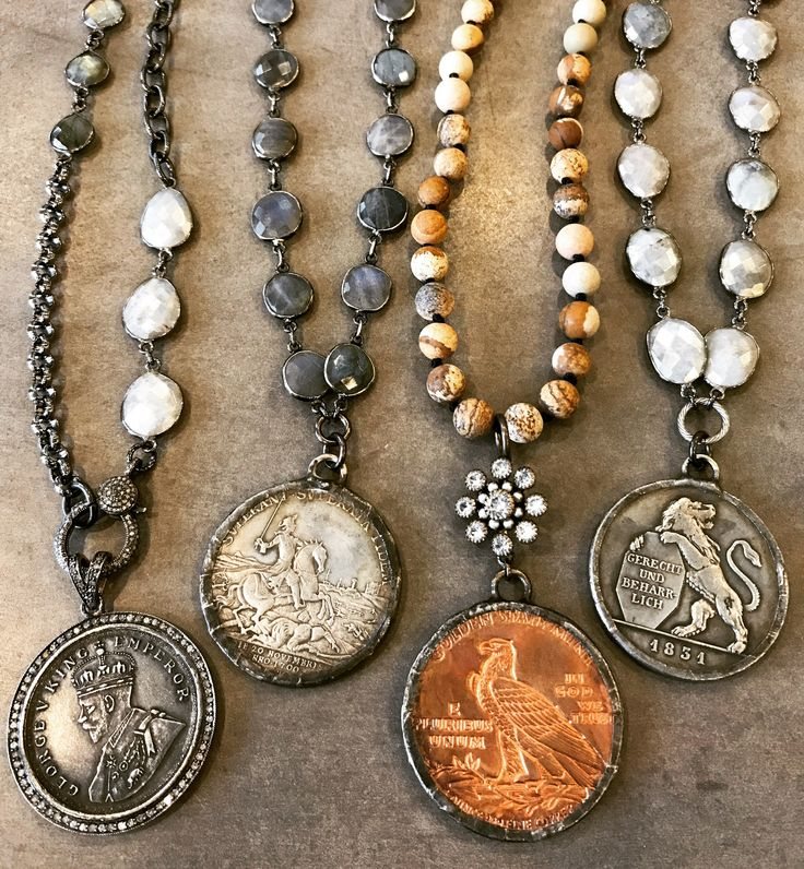 Coins, beads, gemstones and diamonds. Email me at lisajilljewelry@gmail.com for wholesale or retail purchases.