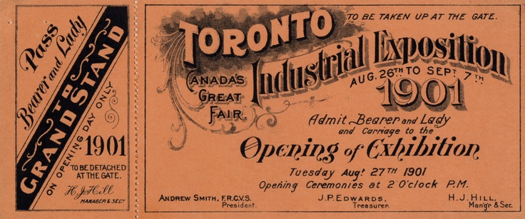 """An unused ticket to the 1901 Industrial Exposition, including a grandstand pass for """"Bearer and Lady""""."""
