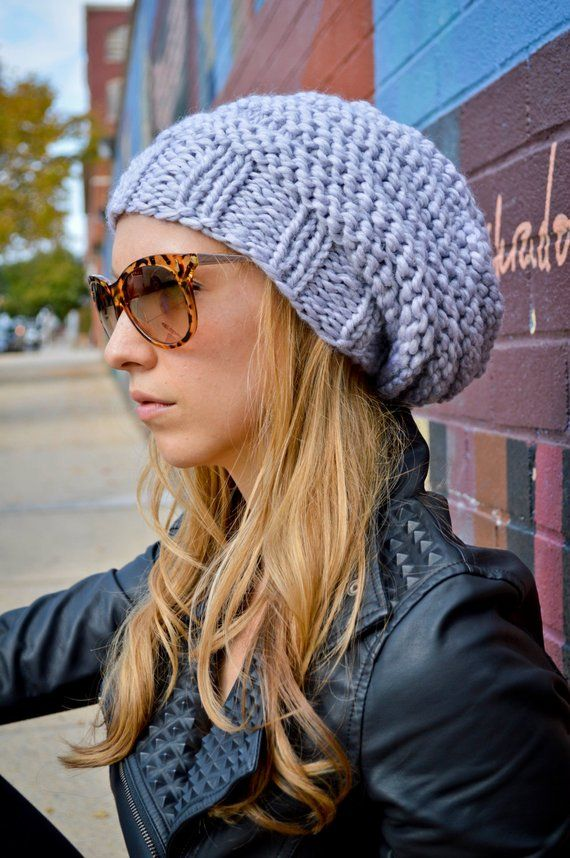 9868054beeb Slouch Beanie CHOOSE COLOR Women s Hand Knit Slouchy Hat