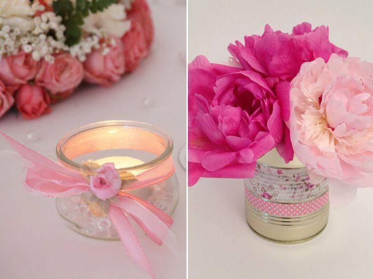 Photophore fait avec un pot de yaourt et vase avec une for Decoration pot de yaourt en verre