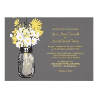 Springtime themed wedding invitation with an on-trend Mason Jar and Wildflowers design. Available at Zazzle. More spring wedding invites on the follow through page.
