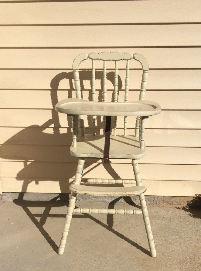 Distressed Vintage Wooden High Chair, Jenny Lind, Antique High Chair, Vintage High Chair, Custom Painted High Chair, 1st birthday, Smashcake by TheKristKorner on Etsy