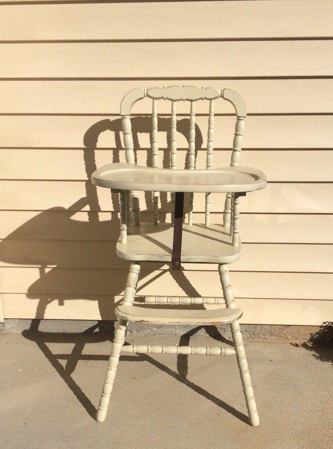 Distressed Vintage Wooden High Chair, Jenny Lind, Antique High Chair, Vintage High Chair, Custom Painted High Chair, 1st birthday, Smashcake by TheKristKorner on Etsy