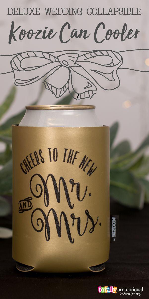 These Metallic Gold Koozies Are Stunning Perfect Favors And Cute Design Custom Printed Koozie Wedding Favors Wedding Koozies Funny Totally Wedding Koozies