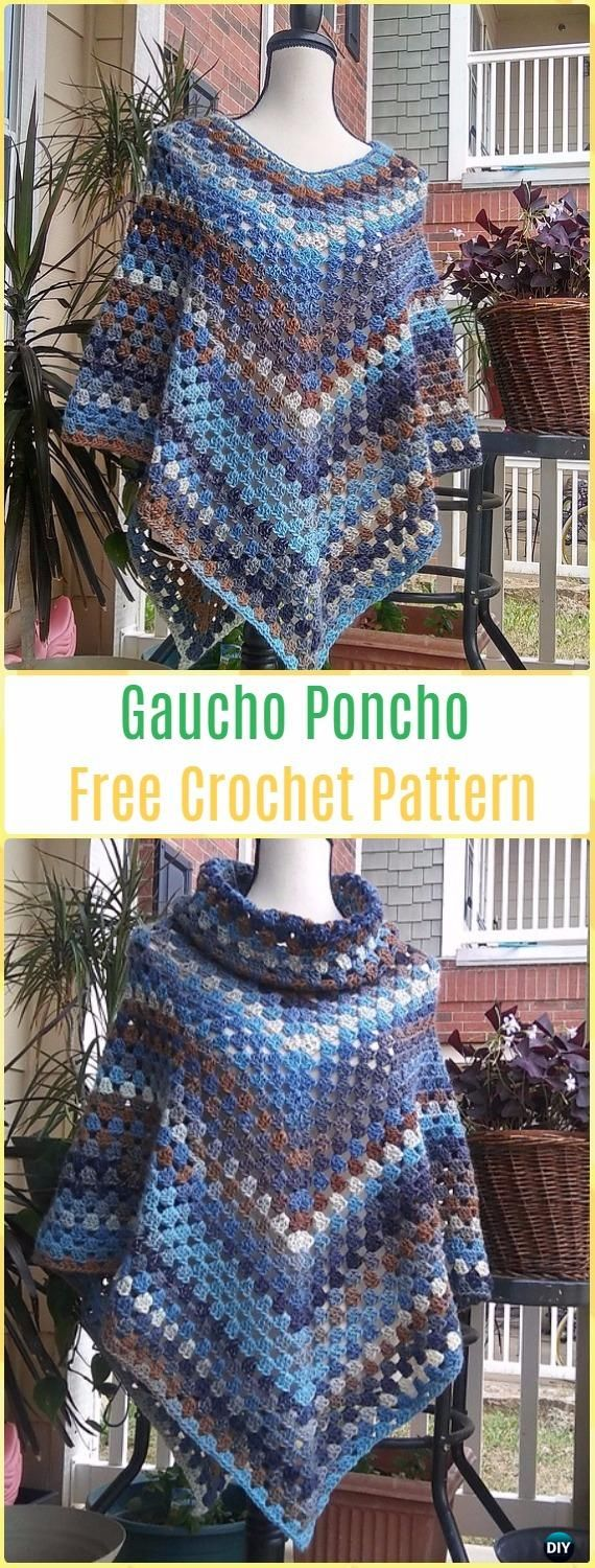 Crochet Gaucho Poncho Free Pattern - Crochet Women Capes & Poncho Patterns