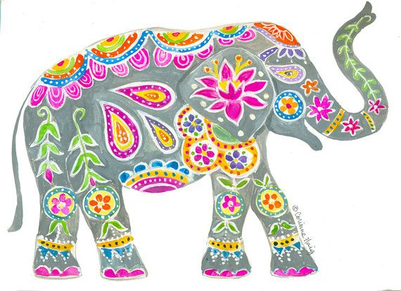 Painted Elephant Art Print by CorinneDesigns on Etsy.  A vibrant, festive elephant like the real painted elephants in India. Painted with gouache, so colorful and fun!