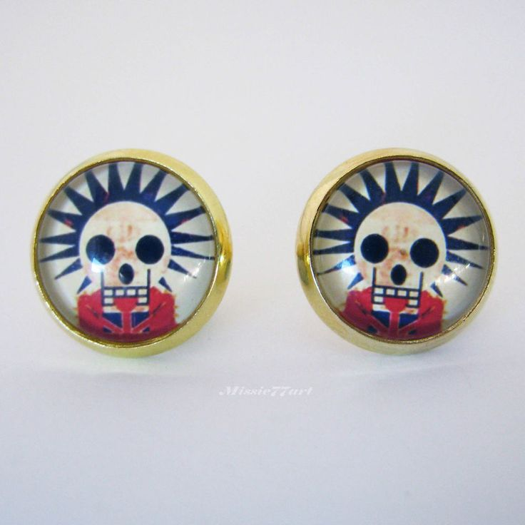 Rockabilly Sugar Skulls Day of the Dead Gold Plated Stud Earrings - Gift Boxed by Missie77art Jewellery on ebay