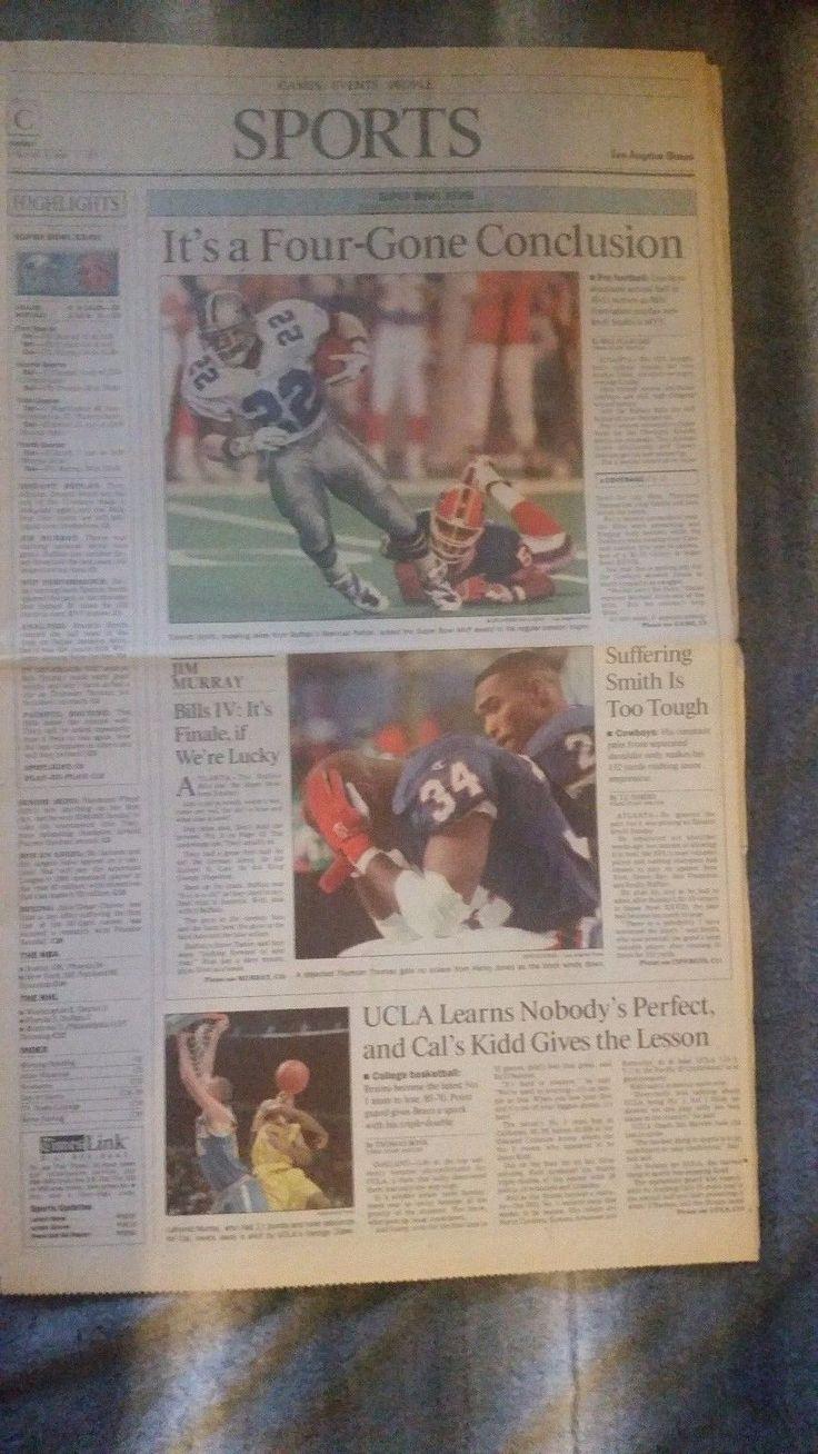 NFL SUPERBOWL  1994 DALLAS COWBOYS 30-13 over BUFFALO BILLS  Newspaper