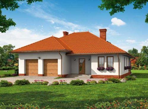 W przypadku tego projektu mamy do czynienia z jednorodzinnym domem parterowym, wyposażonym w dwustanowiskowy garaż.