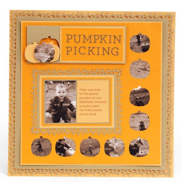 Pumpkin Picking Scrapbook Page - Scrapbook.com - Very pretty layout. #scrapbooking #layout #fall #autumn #marthastewartcrafts