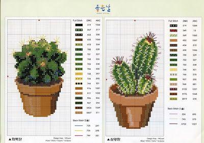 Ricami, lavori e centinaia di schemi a punto croce di tutti i tipi, gratis: Schema punto croce - vasetti con piante grasse e cactus in fiore