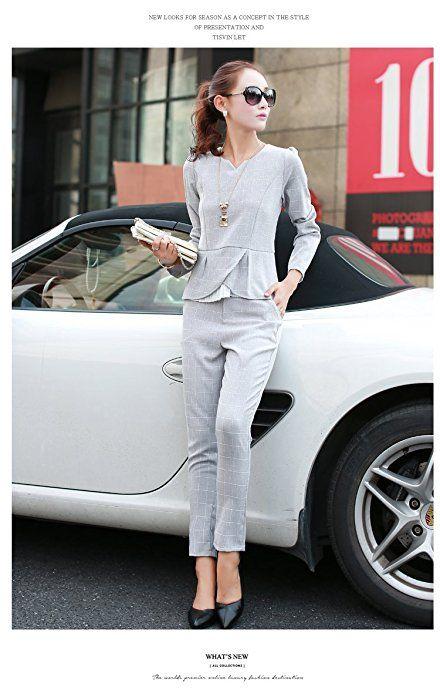 Amazon | (119ホンポ)スタイリッシュ レディース パンツ スーツ ビジネス 冠婚葬祭 通勤 セクシー 上下セット (XL, 薄灰) | パンツスーツ 通販