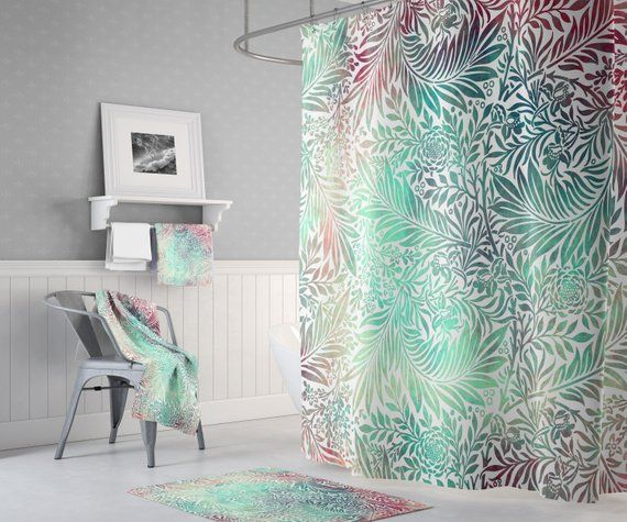 Green Boho Tie Dye Shower Curtain Chic Colorful Shower Curtain
