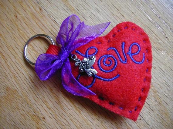 Heart key chain Valentine heart felt key chain by longvalleybears, $2.25