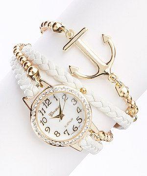 Love this White Anchor Bracelet Watch by Geneva Platinum on #zulily! #zulilyfinds