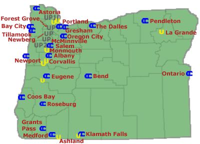 Oregon colleges and universities map College Community Service