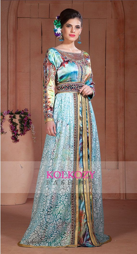 Beautiful Aqua Blue Moroccan Kaftan Dress Digital by KolkozyShop
