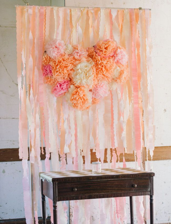 Cute backdrop! Get married in front of it. Take pictures in front of it. Cut the cake in front of it. Anything you do in front of it will be more beautiful. Headlands Center for the Arts Wedding: Anna + Filip #weddingbackdrop #peach #diywedding