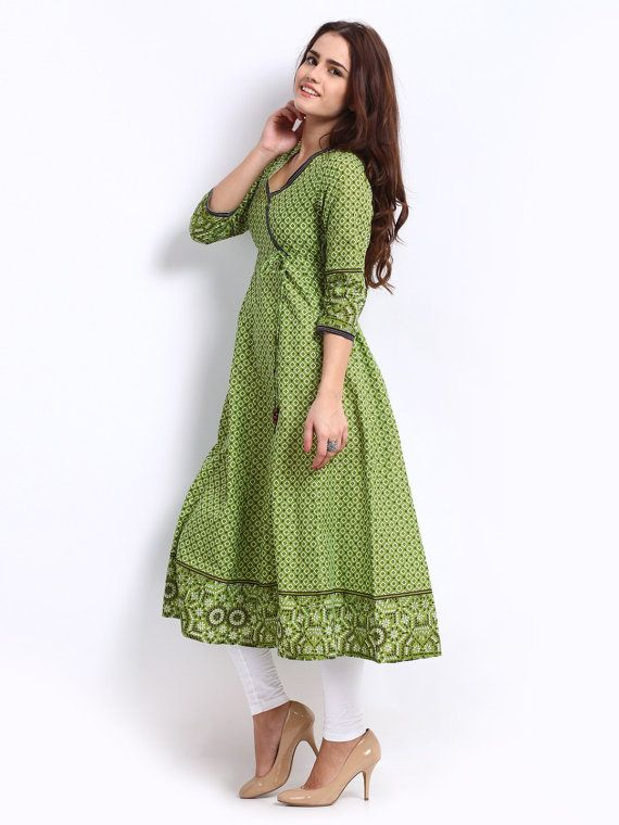 Women Green Anarkali Printed Kurta by ShopOfIndia on Etsy