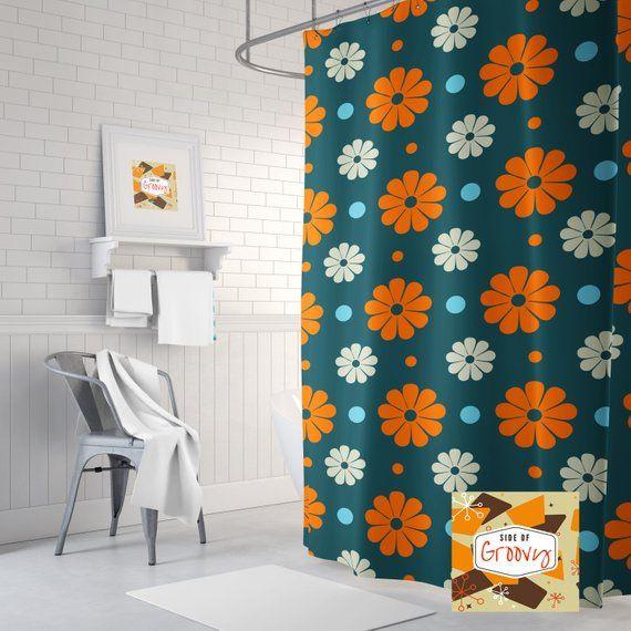 Retro Shower Curtain Mid Century Funky