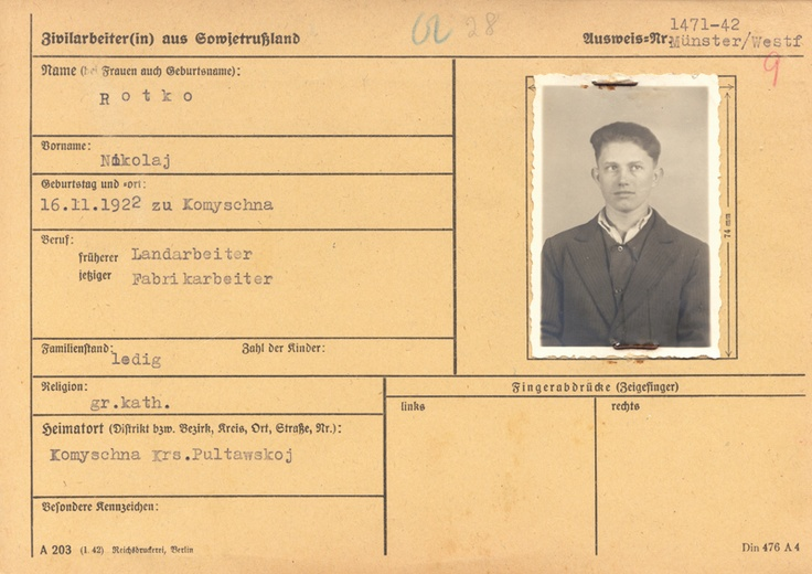 """Registration card: In September 1942, Nicolai Rotko was deported to Germany as a slave labourer. He worked at a munitions factory in Telgte in Westphalia. In autumn 1944, he was arrested by the Gestapo after an argument with his foreman and imprisoned in a """"work education camp"""". He was transferred from there to Neuengamme concentration camp in December 1944. In February 1945, he was assigned to Wöbbelin to construct a satellite camp, where he was liberated in late April 1945."""