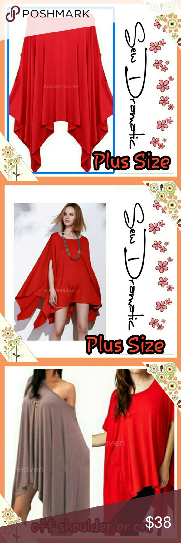 HOST PICK Red  or white Aesymetrical Top or Dress! HOST PICK!  THANK YOU @pearldiverla - PLEASE VISIT her closet!   Gorgeous plus size oversize fire engine red tunic dress or long top.  Runs big to give a classic flowy look   Tunic dress shirt can be worn as a shirt or mini dress again it runs big so each size will fit multiple sizes!   Sizes sold as follows L/XL.   1X/2X     X4X  Available in white and red!! Tops Tunics
