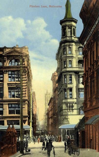Vintage Postcard Flinders Lane Melbourne Victoria Australia (City)