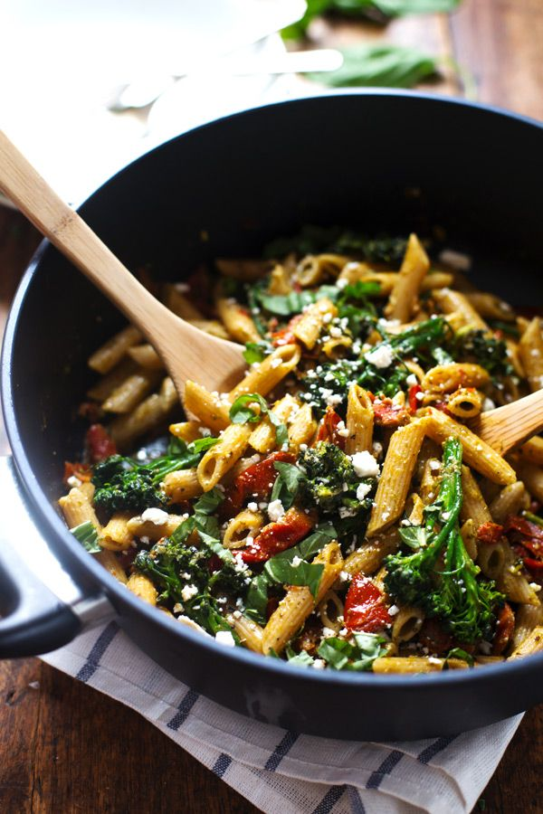 20-Minute Lemon Pesto Penne - baby broccoli, oven roasted tomatoes, pesto, fresh lemon, feta, and basil. My husband says it's his new favori...