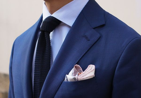 striped shirt navy knitted tie, pattern pocket square