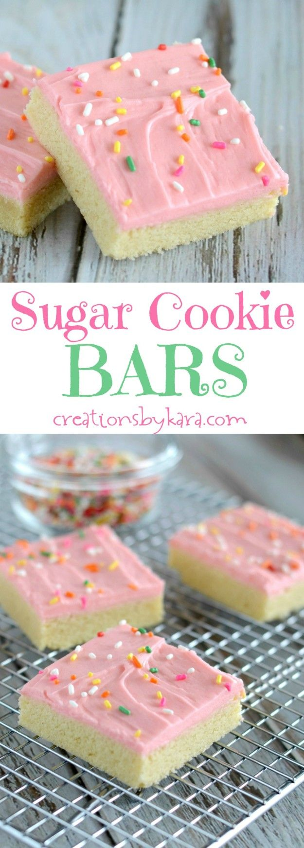 Sugar Cookie Bars – The fabulousness of sugar cookies without all the rolling, cutting, and decorating. Everyone LOVES these soft and delicious bars!