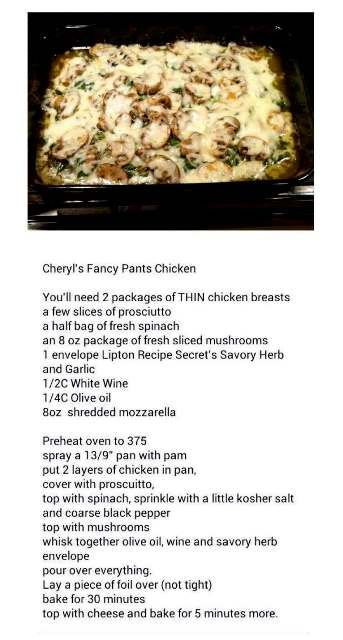 Cheryl's Fancy Pants Chicken--- made this the other night--so easy! Would love to try it with Salmon.                                                                                                                                                     More