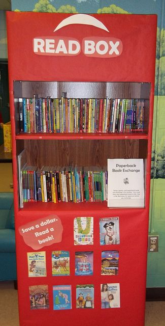 """A Red Box """"Read Box"""" in the book area.  We can place our favorite books in this shelf so that we can find them easier"""