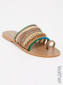 Wild Alice by Queue Leather Strappy Beaded Sandals Tan