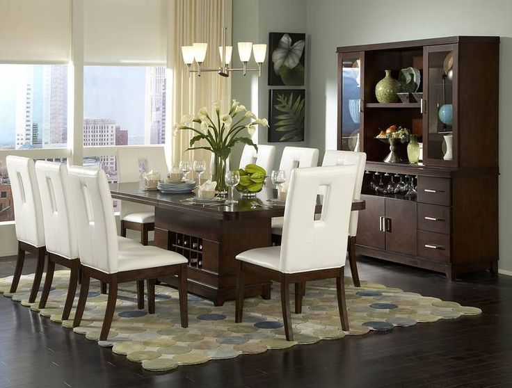 Fascinating Modern Dining Room Sets Ideas With Wooden Dining Table Sets  With White Chairs In Rugs Area Black Marble Flooring Wooden Cabinet Elegant  ...
