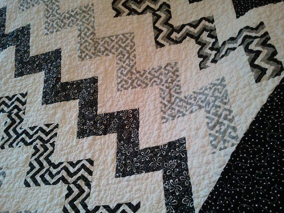 Black and white quilt NEW Black and White CHEVRON Quilt Zig Zag by QuiltsByTaylorDesign, $225.00
