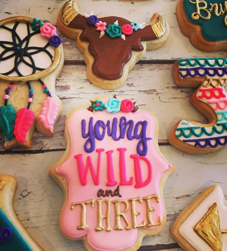 Young, wild, and THREE, boho chic cookies by Hayleycakes and cookies in Austin, Tx