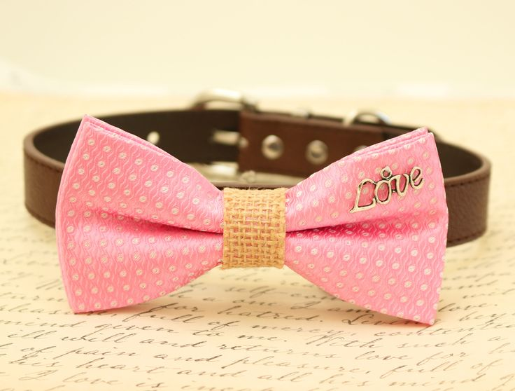 Pink Dog Bow Tie, Bow tie attached to brown dog collar, Bow with charm, Burlap, Love, Christmas gift, Valentine's Day Gift,Pink Wedding, Cat